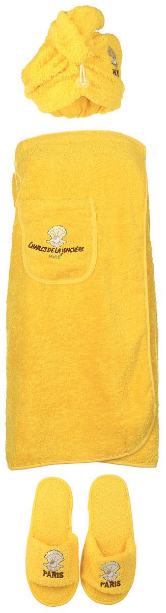 Набор для бани и сауны Karna Paris, цвет: желтый, белый, коричневый, 3 предмета42000Оригинальный набор для бани Karna Paris включает в себя чалму, парео и тапочки. Изделия выполнены из 100% хлопка, декорированы вышитым рисунком и надписью. Чалма, парео и тапочки - это незаменимые аксессуары для любителей попариться в русской бане и для тех, кто предпочитает сухой жар финской бани. Чалма защитит волосы от сухости и ломкости, голову от перегрева и предотвратит появление головокружения. Тапочки обезопасят ваши ноги. Парео выполнено из хлопка, посажено на резинку и застегивается с помощью липучки. Его можно использовать как коврик для бани или полотенце. На изделии имеется карман. Такой набор поможет с удовольствием и пользой провести время в бане, а также станет чудесным подарком друзьям и знакомым, которые по достоинству его оценят при первом же использовании.Рекомендуется стирка при температуре 40°С.Размер парео: 154 х 71 см. Размер чалмы: 58 х 26 см. Размер подошвы тапочек: 28 х 10 см.