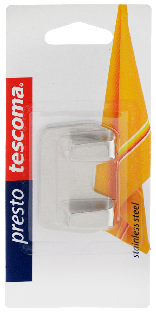 Крючок Tescoma Presto. 42084568/5/2Крючки Tescoma Presto выполнены из нержавеющей стали и предназначены для размещения на стене. Изделие отлично подойдет для подвешивания кухонных принадлежностей: полотенец, рукавиц, прихваток и других мелких предметов.Самоклеящиеся крючки легко прикреплять и удобно использовать, после снятия не оставляют следов на поверхности.Размер изделия: 5,5 х 3,5 х 1,3 см.