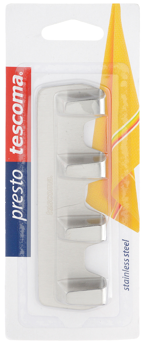 Крючок Tescoma Presto. 420847531-105Крючки Tescoma Presto выполнены из нержавеющей стали и предназначены для размещения на стене. Изделие отлично подойдет для подвешивания кухонных принадлежностей: полотенец, рукавиц, прихваток и других мелких предметов.Самоклеящиеся крючки легко прикреплять и удобно использовать, после снятия не оставляют следов на поверхности.Размер изделия: 12 х 3,5 х 1,3 см.