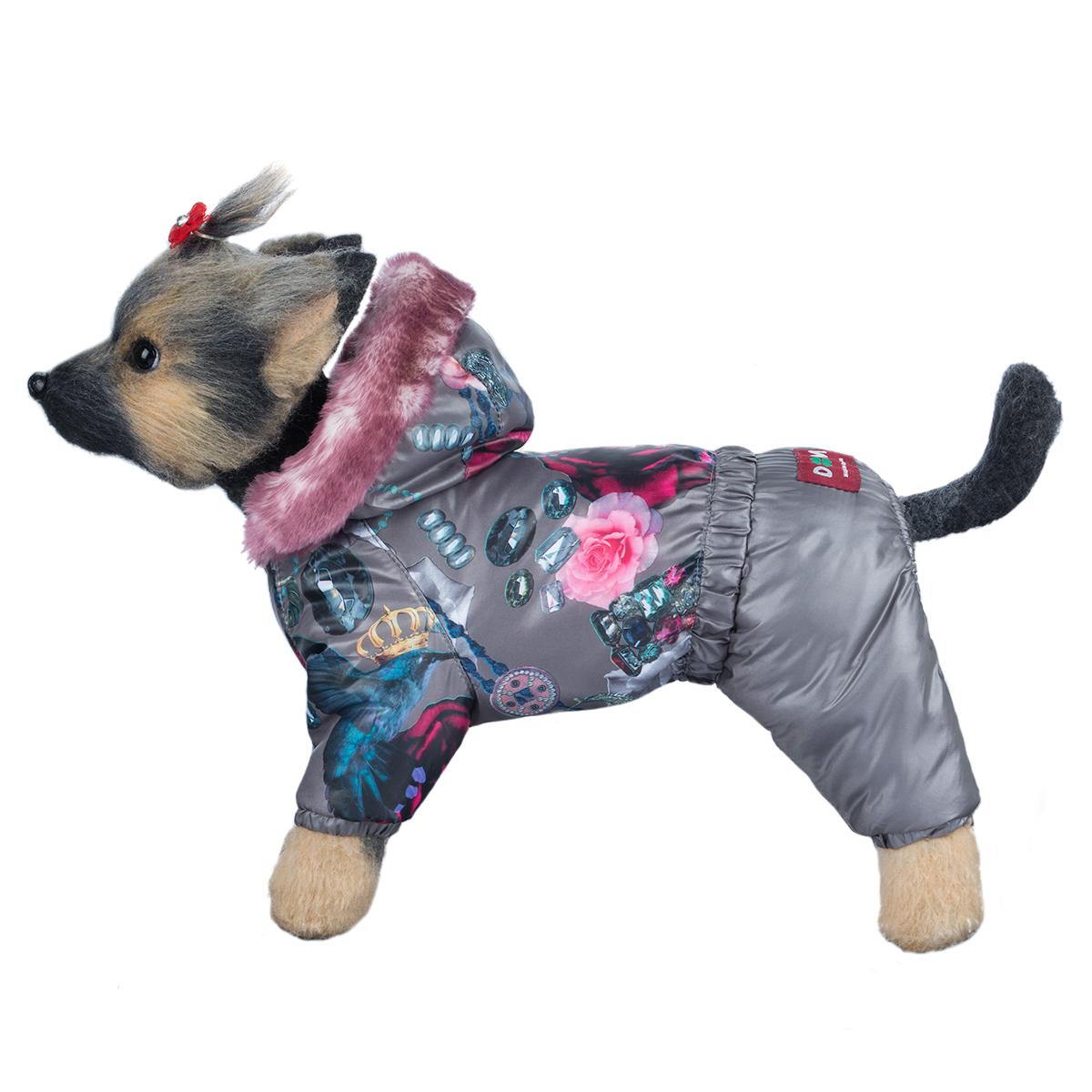 Комбинезон для собак Dogmoda Гламур, для девочки, цвет: серый, розовый. Размер 4 (XL)DM-160296-4Зимний комбинезон для собак Dogmoda Гламурr предназначен для собачек женского пола. Отлично подойдет для прогулок в зимнее время года. Комбинезон изготовлен из полиэстера, защищающего от ветра и снега, с утеплителем из синтепона, который сохранит тепло даже в сильные морозы, а на подкладке используется искусственный мех, который обеспечивает отличный воздухообмен. Комбинезон с капюшоном застегивается на кнопки, благодаря чему его легко надевать и снимать. Капюшон украшен искусственным мехом и не отстегивается. Низ рукавов и брючин оснащен внутренними резинками, которые мягко обхватывают лапки, не позволяя просачиваться холодному воздуху. На пояснице комбинезон затягивается на шнурок-кулиску. Благодаря такому комбинезону простуда не грозит вашему питомцу.
