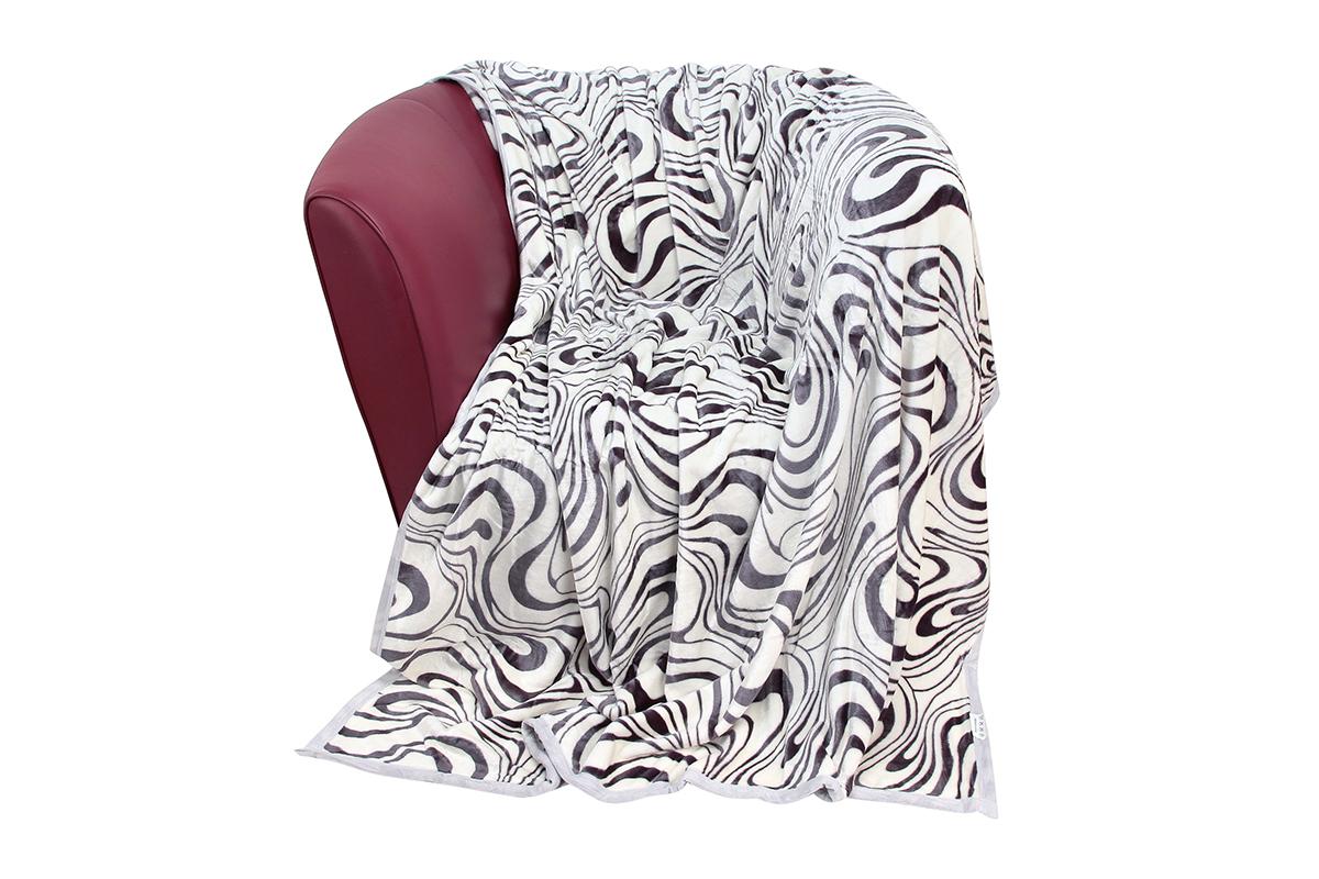 Плед EL Casa Зебра, цвет: серый, белый, 150 х 200 смBL-1BУютный, легкий и прочный плед в оригинальном дизайне послужит украшением декора вашей комнаты и согреет вас и ваших близких.Устойчив к истиранию и скатыванию, не мнется, не деформируется, сохранит первоначальный вид даже при активном использовании и многочисленных стирках. Такой плед идеален в качестве подарка на любой праздник. Изделие в подарочной сумке с ручками.Плотность - 320 г/м2.