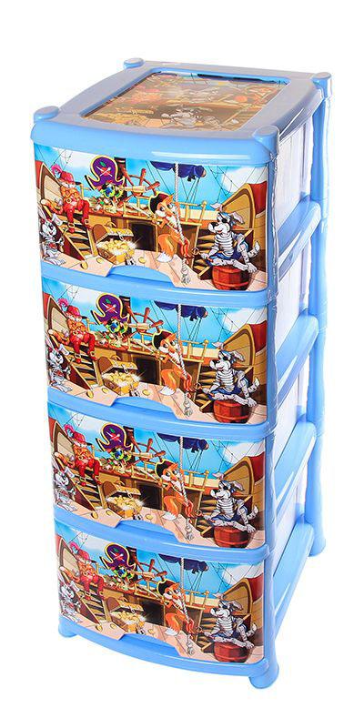 Комод Violet Пираты, 4-х секционный, 40 х 47 х 94 см28907 4Универсальный комод с 4 выдвижными ящиками выполнен из экологически чистого пластика. Идеально подходит для хранения игрушек и других хозяйственных предметов. Достаточно вместительный, но в то же время компактный. Можно сократить количество ярусов по желанию.Поставляется в разобранном виде. Максимальная нагрузка на 1 ящик комода равна 12 кг.