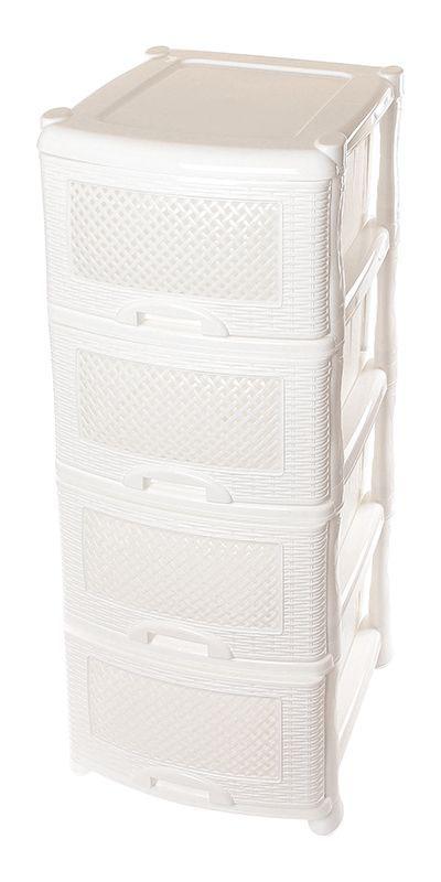 Комод Violet Плетенка, 4-х секционный, цвет: белый, 40 х 46 х 94 см. 0354300148_розовыйУниверсальный комод Violet состоит из 4х выдвигающихся ящиков. Выполнен из экологически чистого пластика, пищевого полипропилена. Не имеет запаха и безопасен для использования в жилых помещениях.Идеально подходит для хранения детских игрушек и других хозяйственных предметов. Он достаточно вместительный, но и компактный. Можно сократить количество ярусов по желанию.Поставляется в разобранном виде.