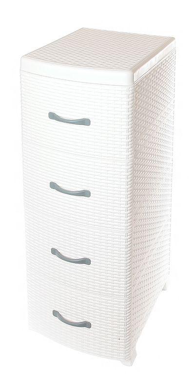 Комод Violet Ротанг, 4-х секционный, цвет: белый, 40 х 46 х 95 смBQ3773ВНГУниверсальный комод с 4 выдвижными ящиками выполнен из экологически чистого пластика. Идеально подходит для хранения игрушек и других хозяйственных предметов. Достаточно вместительный, но в то же время компактный. Можно сократить количество ярусов по желанию.Поставляется в разобранном виде. Максимальная нагрузка на 1 ящик комода равна 12 кг.