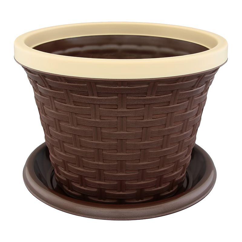 Кашпо Violet Ротанг, с поддоном, цвет: темно-коричневый, 1,1 л531-401Классическое кашпо, выполненное из пластика, прекрасно подойдет для выращивания трав и цветов. Имитирующее плетение из ротанга кашпо имеет поддон.Объём кашпо: 1,1 л.