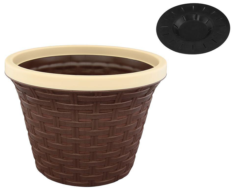 Кашпо Violet Ротанг, с дренажной системой, цвет: какао, 4,8 л531-401Круглое кашпо Violet Ротанг изготовлено из высококачественного пластика и оснащено дренажной системой для быстрого отведения избытка воды при поливе. Изделие прекрасно подходит для выращивания растений и цветов в домашних условиях. Объем: 4,8 л.