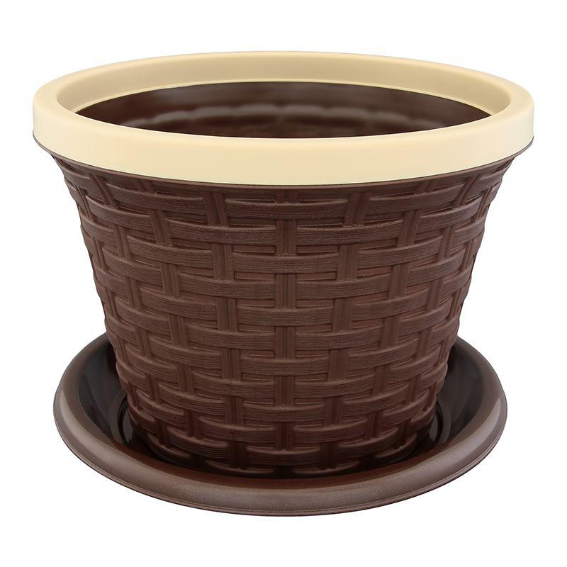 Кашпо Violet Ротанг, с дренажной системой, цвет: темно-коричневый, 4,8 лZ-0307Круглое кашпо Violet Ротанг изготовлено из высококачественного пластика и оснащено дренажной системой для быстрого отведения избытка воды при поливе. Изделие прекрасно подходит для выращивания растений и цветов в домашних условиях. Объем: 4,8 л.
