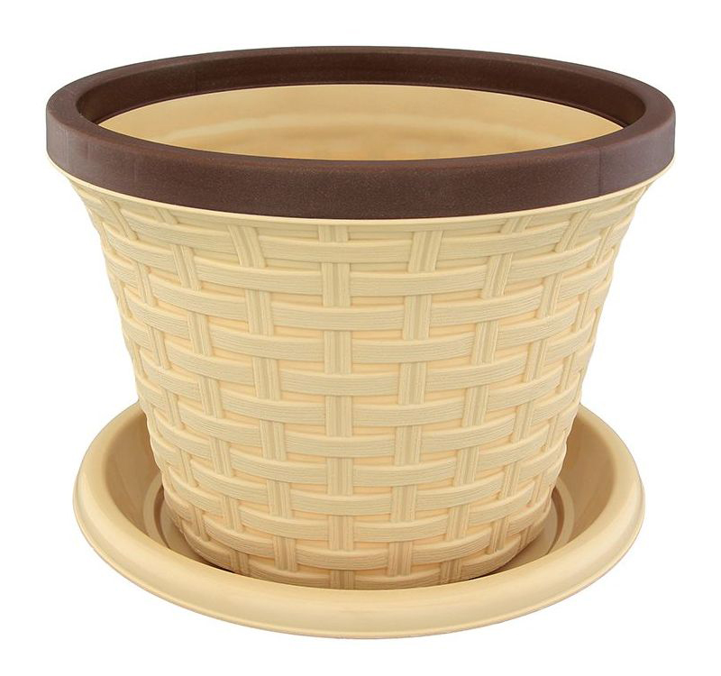 Кашпо Violet Ротанг, с поддоном, цвет: бежевый, 2,2 л41624Классическое кашпо, выполненное из пластика, прекрасно подойдет для выращивания трав и цветов. Имитирующее плетение из ротанга кашпо имеет поддон.Объём кашпо: 2,2 л.