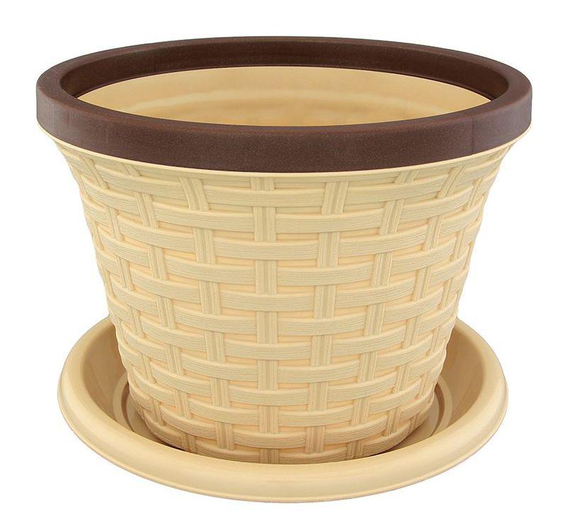 Кашпо Violet Ротанг, с поддоном, цвет: бежевый, 6,5 л531-101Классическое кашпо, выполненное из пластика, прекрасно подойдет для выращивания трав и цветов. Имитирующее плетение из ротанга кашпо имеет поддон.Объём кашпо: 6,5 л.