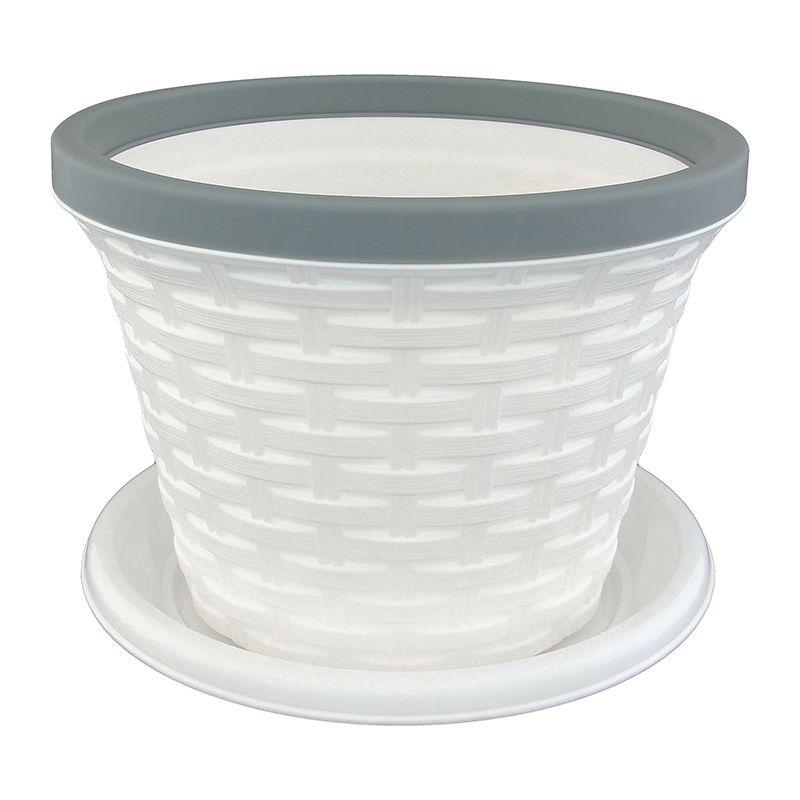 Кашпо Violet Ротанг, с поддоном, цвет: белый, 3,4 л531-304Классическое кашпо, выполненное из пластика, прекрасно подойдет для выращивания трав и цветов. Имитирующее плетение из ротанга кашпо имеет поддон.Объём кашпо: 3,4 л.