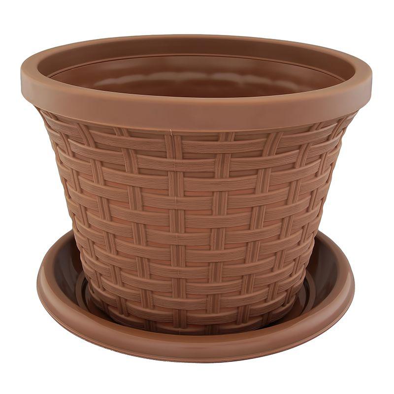 Кашпо Violet Ротанг, с поддоном, цвет: какао, 4,8 л531-125Классическое кашпо, выполненное из пластика, прекрасно подойдет для выращивания трав и цветов. Имитирующее плетение из ротанга кашпо имеет поддон.Объём кашпо: 4,8 л.