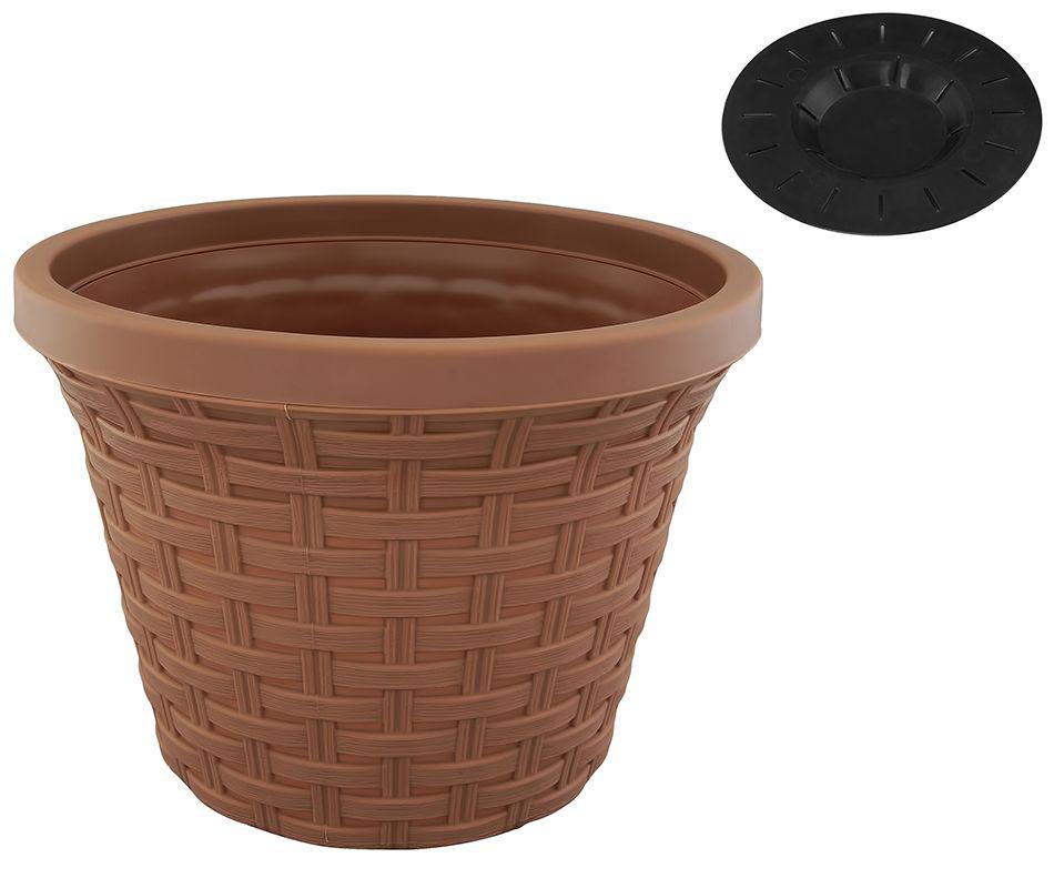 Кашпо Violet Ротанг, с дренажной системой, цвет: какао, 8,8 л531-121Круглое кашпо Violet Ротанг изготовлено из высококачественного пластика и оснащено дренажной системой для быстрого отведения избытка воды при поливе. Изделие прекрасно подходит для выращивания растений и цветов в домашних условиях. Объем: 8,8 л.