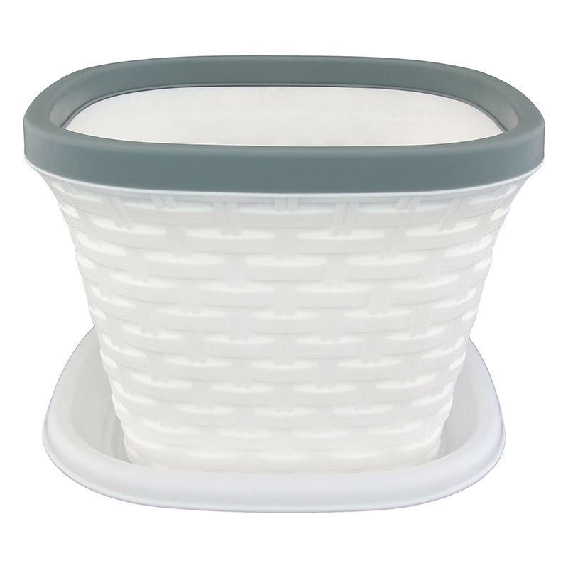 Кашпо квадратное Violet Ротанг, с поддоном, цвет: белый, 7,5 л531-304Квадратное кашпо, выполненное из пластика, прекрасно подойдет для выращивания трав и цветов. Имитирующее плетение из ротанга кашпо имеет поддон.Объём кашпо: 7,5 л.