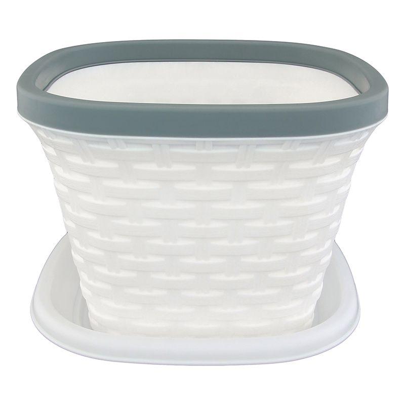 Кашпо квадратное Violet Ротанг, с поддоном, цвет: белый, 9,8 л531-105Квадратное кашпо, выполненное из пластика, прекрасно подойдет для выращивания трав и цветов. Имитирующее плетение из ротанга кашпо имеет поддон.Объём кашпо: 9,8 л.