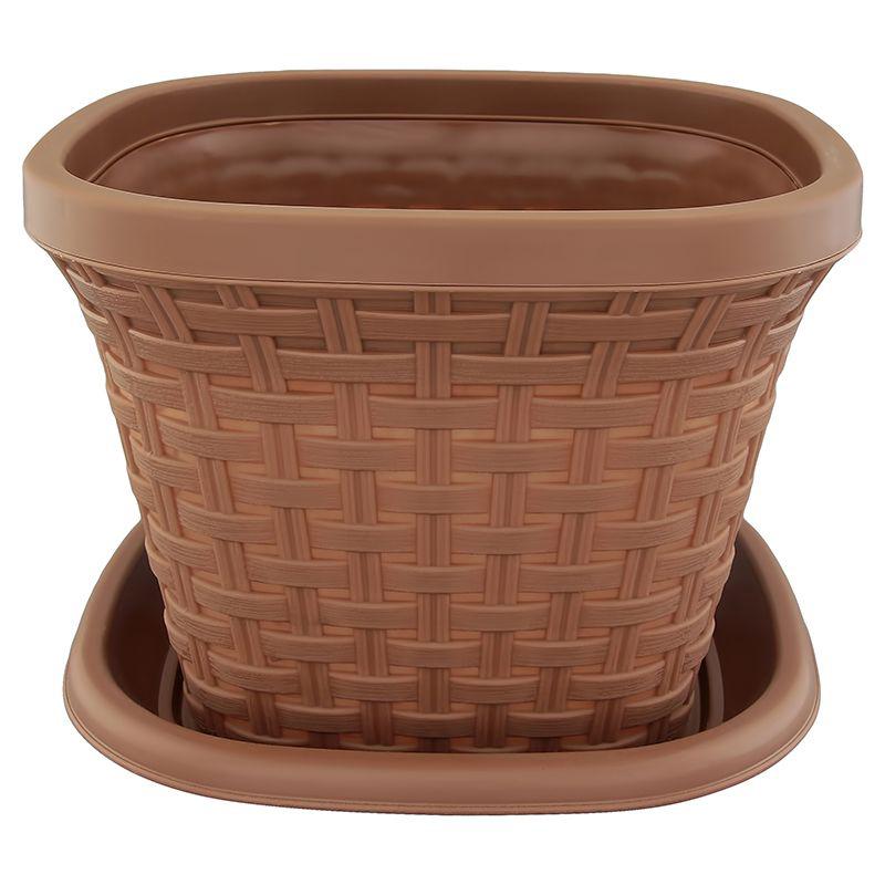 Кашпо квадратное Violet Ротанг, с поддоном, цвет: какао, 2,6 л531-322Квадратное кашпо, выполненное из пластика, прекрасно подойдет для выращивания трав и цветов. Имитирующее плетение из ротанга кашпо имеет поддон.Объём кашпо: 2,6 л.