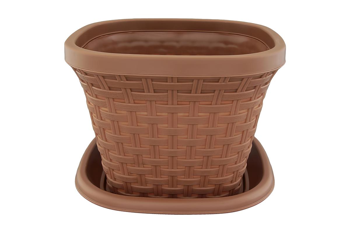 Кашпо квадратное Violet Ротанг, с поддоном, цвет: какао, 7,5 л531-125Квадратное кашпо, выполненное из пластика, прекрасно подойдет для выращивания трав и цветов. Имитирующее плетение из ротанга кашпо имеет поддон.Объём кашпо: 7,5 л.
