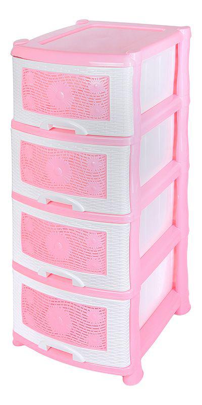 Комод Violet Ромашка, 4-х секционный, цвет: розовый, 40 х 46 х 94 смTHN132NУниверсальный комод с 4 выдвижными ящиками выполнен из экологически чистого пластика. Идеально подходит для хранения игрушек и других хозяйственных предметов. Достаточно вместительный, но в то же время компактный. Можно сократить количество ярусов по желанию.Поставляется в разобранном виде. Максимальная нагрузка на 1 ящик комода равна 12 кг.