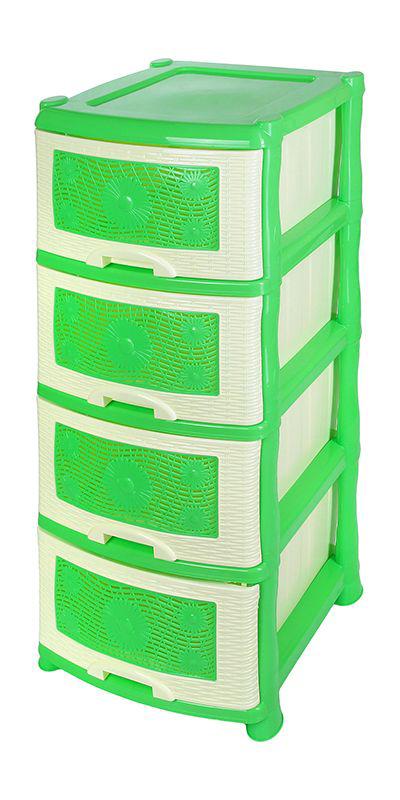Комод Violet Ромашка, 4-х секционный, цвет: зеленый, 40 х 46 х 94 смTHN132NУниверсальный комод с 4 выдвижными ящиками выполнен из экологически чистого пластика. Идеально подходит для хранения игрушек и других хозяйственных предметов. Достаточно вместительный, но в то же время компактный. Можно сократить количество ярусов по желанию.Поставляется в разобранном виде. Максимальная нагрузка на 1 ящик комода равна 12 кг.