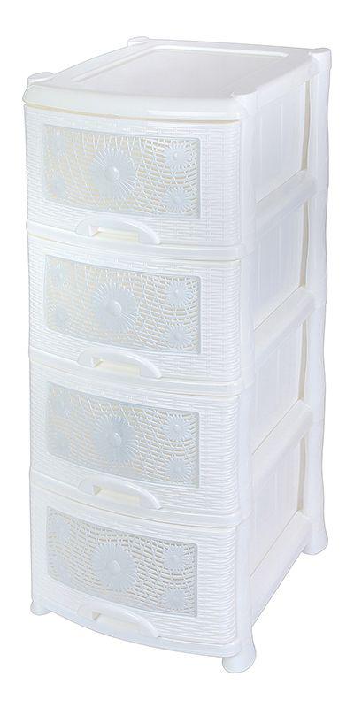 Комод Violet Ромашка, 4-х секционный, цвет: белый, 40 х 46 х 94 см0354Универсальный комод с 4 выдвижными ящиками выполнен из экологически чистого пластика. Идеально подходит для хранения игрушек и других хозяйственных предметов. Достаточно вместительный, но в то же время компактный. Можно сократить количество ярусов по желанию.Поставляется в разобранном виде. Максимальная нагрузка на 1 ящик комода равна 12 кг.