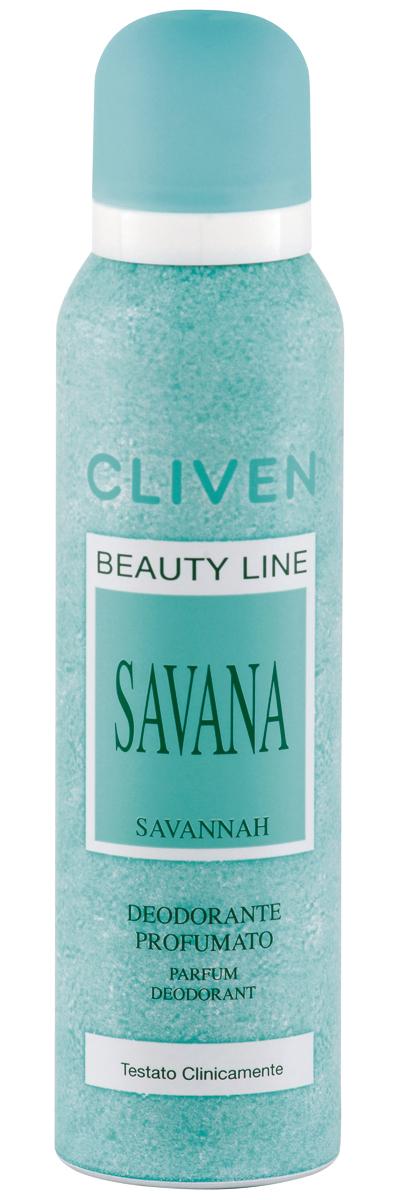 Cliven Женский дезодорант-спрей Саванна 150мл34306Благодаря наличию активных антибактериальных компонентов устранеят неприятный запах и препятствует его образованию. Прошел клиническую проверку.