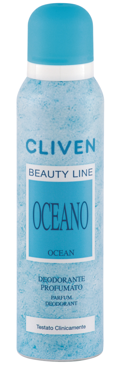 Cliven Женский дезодорант-спрей Океан 150мл1080127Благодаря наличию активных антибактериальных компонентов устранеят неприятный запах и препятствует его образованию. Прошел клиническую проверку.