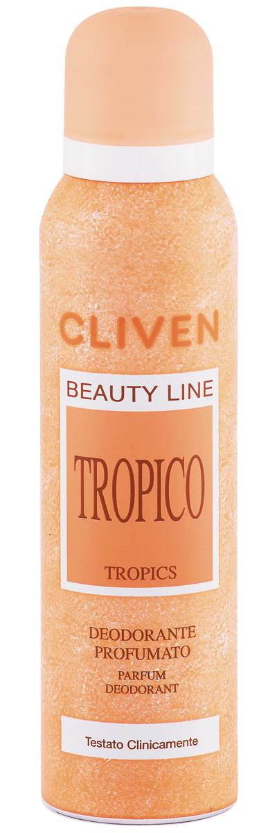 Cliven Женский дезодорант-спрей Тропический 150млSatin Hair 7 BR730MNБлагодаря наличию активных антибактериальных компонентов устранеят неприятный запах и препятствует его образованию. Прошел клиническую проверку.