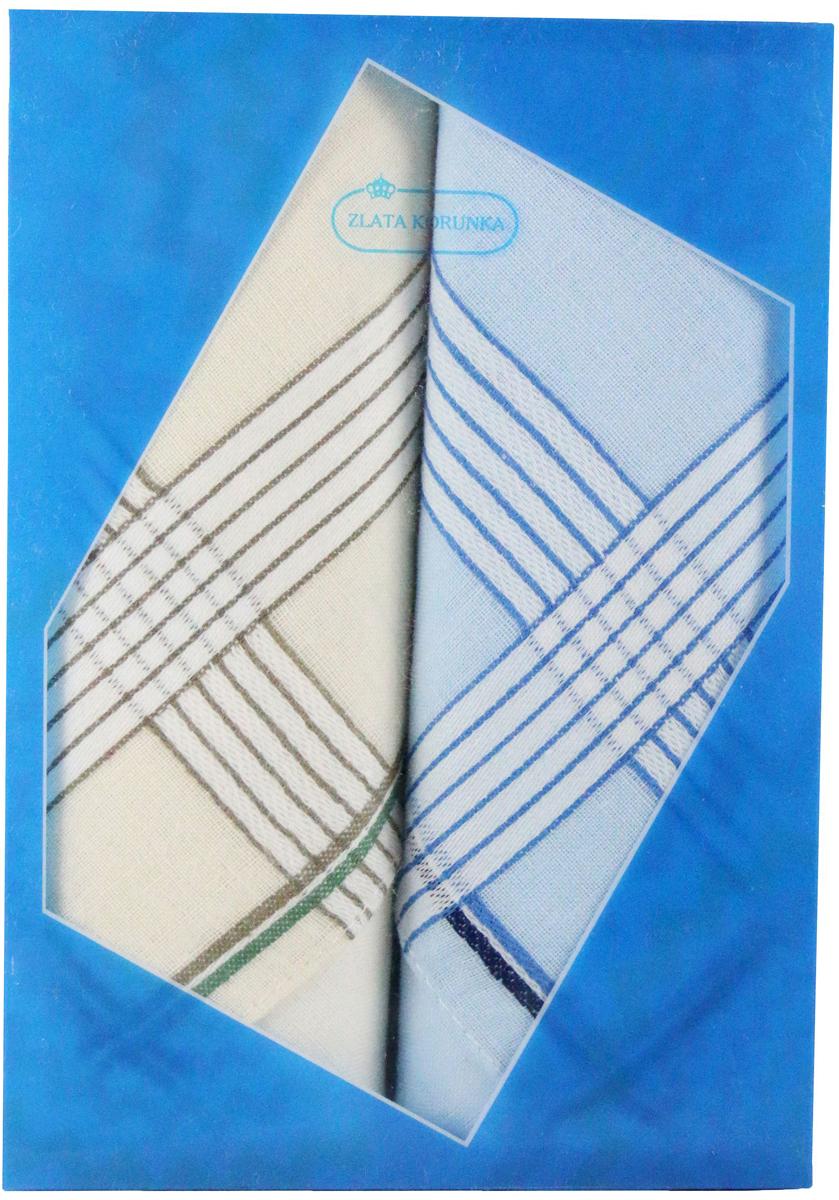 Платок носовой мужской Zlata Korunka, цвет: молочный, голубой, 2 шт. 40213-18. Размер 38 см х 38 см39890|Колье (короткие одноярусные бусы)Оригинальный мужской носовой платок Zlata Korunka изготовлен из высококачественного натурального хлопка, благодаря чему приятен в использовании, хорошо стирается, не садится и отлично впитывает влагу. Практичный и изящный носовой платок будет незаменим в повседневной жизни любого современного человека. Такой платок послужит стильным аксессуаром и подчеркнет ваше превосходное чувство вкуса.В комплекте 2 платка.