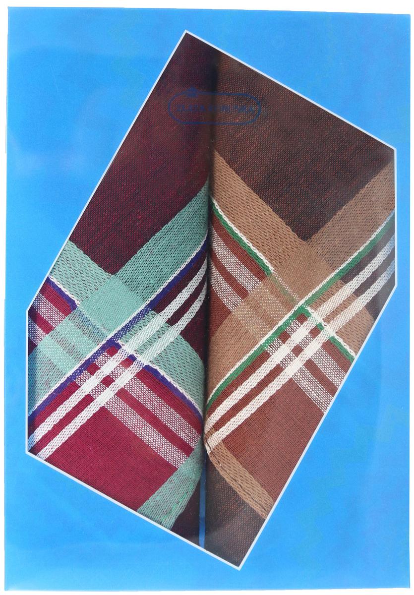 Платок носовой мужской Zlata Korunka, цвет: бордовый, коричневый, 2 шт. 40213-19. Размер 38 см х 38 см39864|Серьги с подвескамиОригинальный мужской носовой платок Zlata Korunka изготовлен из высококачественного натурального хлопка, благодаря чему приятен в использовании, хорошо стирается, не садится и отлично впитывает влагу. Практичный и изящный носовой платок будет незаменим в повседневной жизни любого современного человека. Такой платок послужит стильным аксессуаром и подчеркнет ваше превосходное чувство вкуса.В комплекте 2 платка.