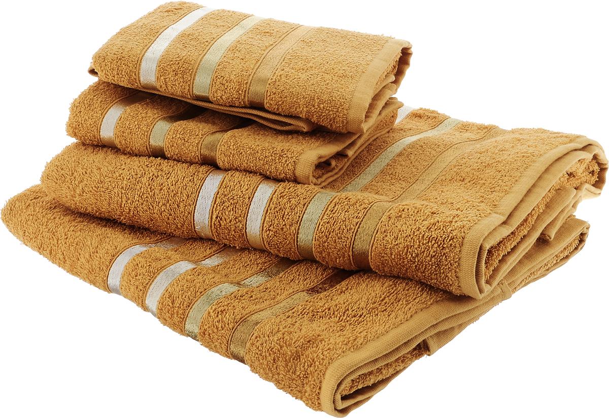 Набор полотенец Karna Bale, цвет: оранжевый, 4 шт953/CHAR005Набор Karna Bale включает 2 полотенца для лица, рук и 2 банных полотенца. Изделия выполнены из высококачественного хлопка с отделкой в виде полос. Каждое полотенце отличается нежностью и мягкостью материала, утонченным дизайном и превосходным качеством. Они прекрасно впитывают влагу, быстро сохнут и не теряют своих свойств после многократных стирок. Такой набор создаст в вашей ванной царственное великолепие и подарит чувство ослепительного торжества. А также станет приятным подарком для ваших близких или друзей. Набор украшен текстильной лентой.