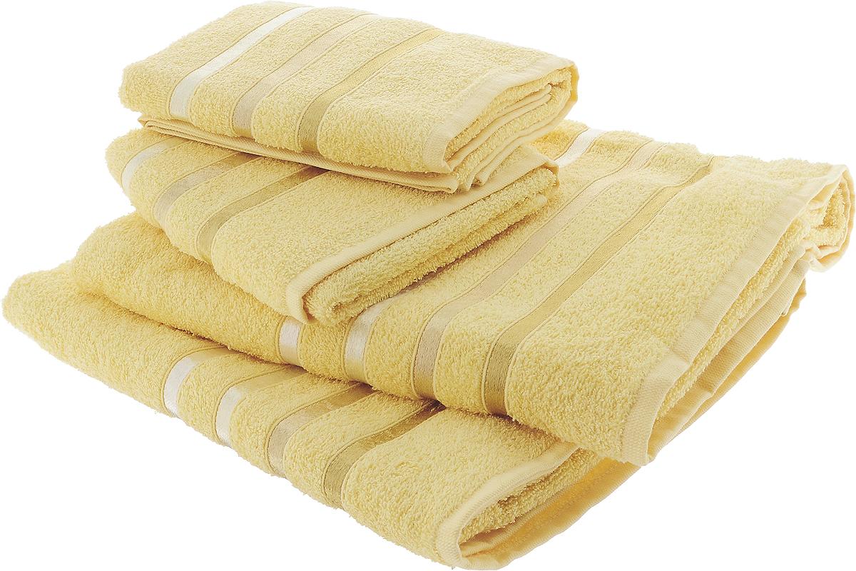 Набор полотенец Karna Bale, цвет: желтый, 4 шт391602Набор Karna Bale включает 2 полотенца для лица, рук и 2 банных полотенца. Изделия выполнены из высококачественного хлопка с отделкой в виде полос. Каждое полотенце отличается нежностью и мягкостью материала, утонченным дизайном и превосходным качеством. Они прекрасно впитывают влагу, быстро сохнут и не теряют своих свойств после многократных стирок. Такой набор создаст в вашей ванной царственное великолепие и подарит чувство ослепительного торжества. А также станет приятным подарком для ваших близких или друзей. Набор украшен текстильной лентой.