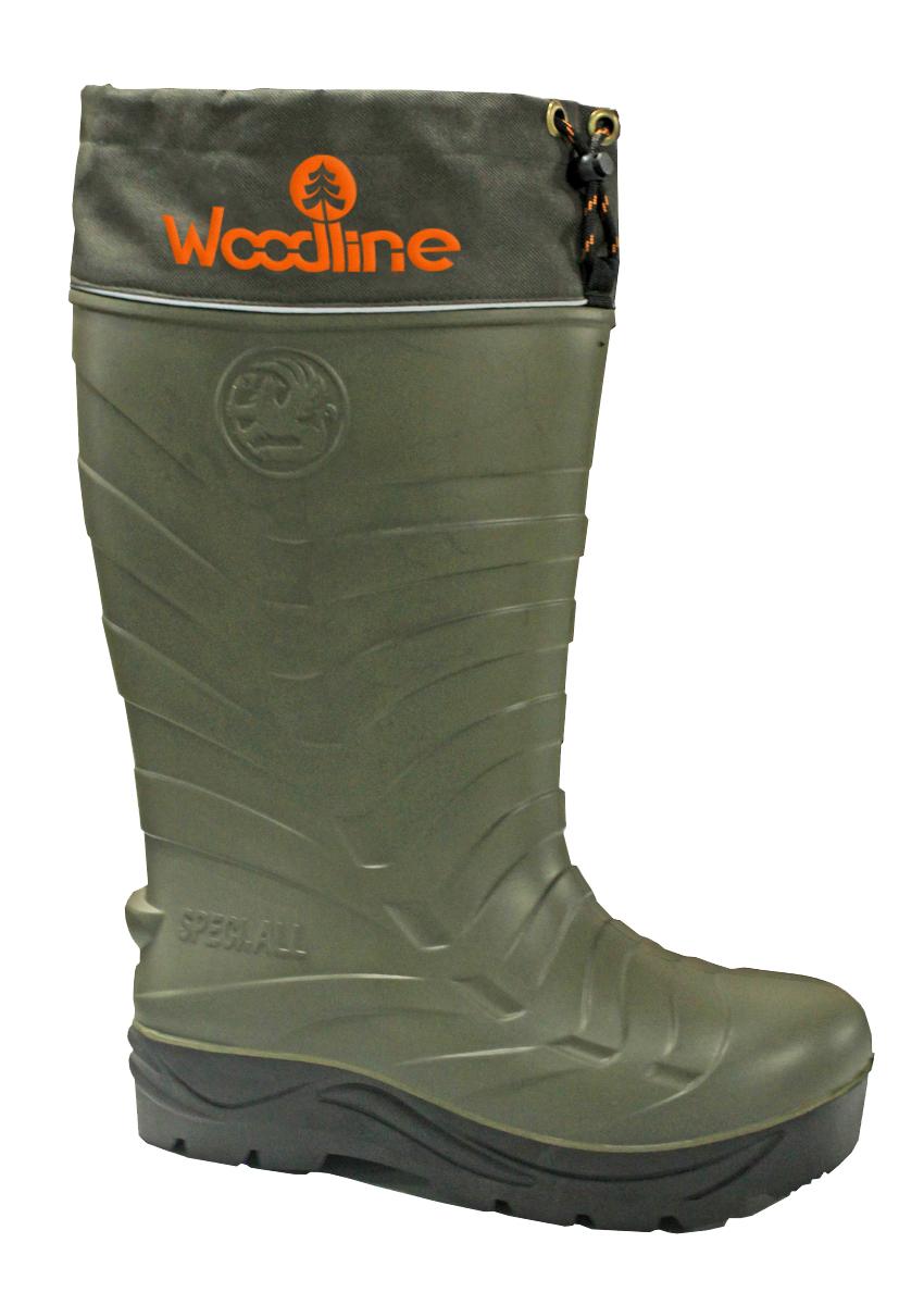 Сапоги зимние Woodline ЭВА с шипами, (-70), цвет: олива. Размер 42/4359315Сапог ЭВА (этиленвинилацетат). Это легкий и упругий материал, имеющий хорошие амортизирующие свойства, устойчивый к растворителям и маслам. Комплектуется 7-ми слойным утеплителем.