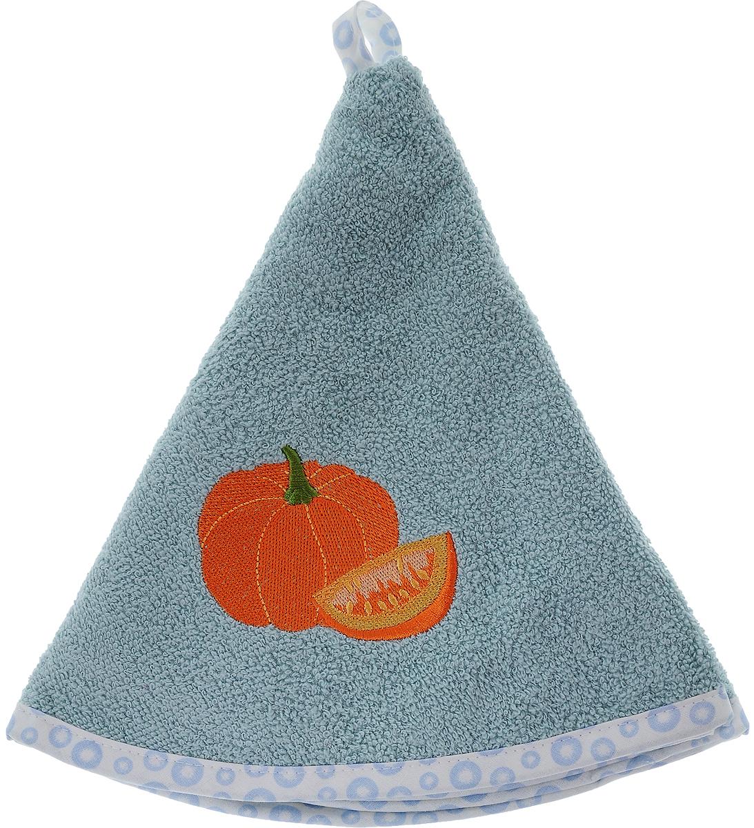 Полотенце кухонное Karna Zelina. Тыква, цвет: серо-голубой, оранжевый, диаметр 50 смVT-1520(SR)Круглое кухонное полотенце Karna Zelina. Тыква изготовлено из 100% хлопка, поэтому являетсяэкологически чистым. Качество материала гарантирует безопасность не только взрослым, но и самым маленьким членам семьи. Изделие мягкое и пушистое, оснащено удобной петелькой и украшено оригинальной вышивкой. Кухонное полотенце Karna сделает интерьер вашей кухни стильным и гармоничным.Диаметр полотенца: 50 см.