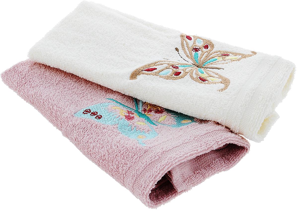 Набор кухонных полотенец Karna Mоron, цвет: молочный, серо-розовый, 30 х 50 см, 2 штVT-1520(SR)Набор Karna Mоron состоит из 2 прямоугольных полотенец, которые выполнены из высококачественного хлопка и украшены вышивкой. Изделия гипоаллергенны, отлично впитывают влагу, быстро сохнут, сохраняют цвет и не теряют форму даже после многократных стирок. Такие полотенца очень практичны и неприхотливы в уходе. Набор Karna станет отличным помощником и украсит интерьер вашей кухни.