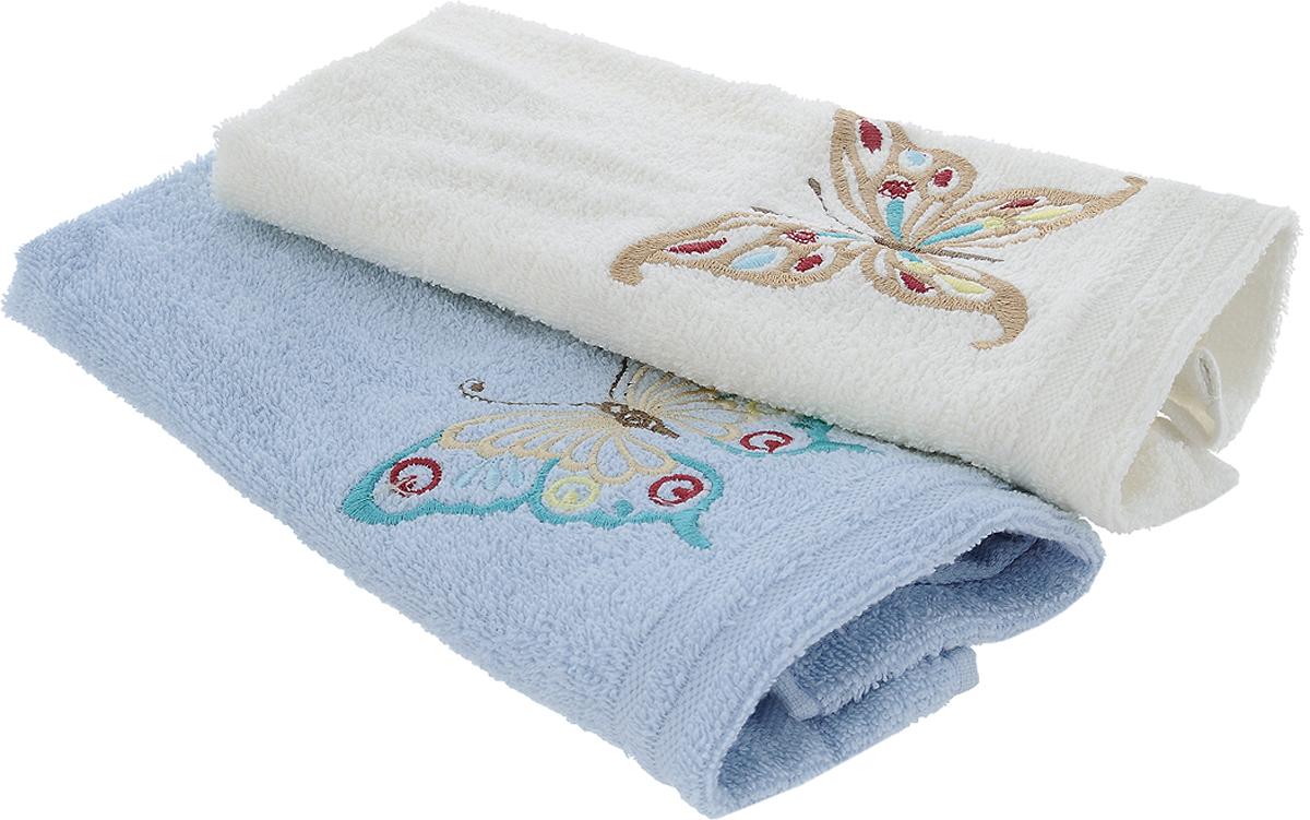 Набор кухонных полотенец Karna Moron, цвет: молочный, светло-голубой, 30 х 50 см, 2 штCLP446Набор Karna Moron состоит из 2 прямоугольных полотенец, которые выполнены из высококачественного хлопка и украшены вышивкой. Изделия гипоаллергенны, отлично впитывают влагу, быстро сохнут, сохраняют цвет и не теряют форму даже после многократных стирок. Такие полотенца очень практичны и неприхотливы в уходе. Набор Karna станет отличным помощником и украсит интерьер вашей кухни.