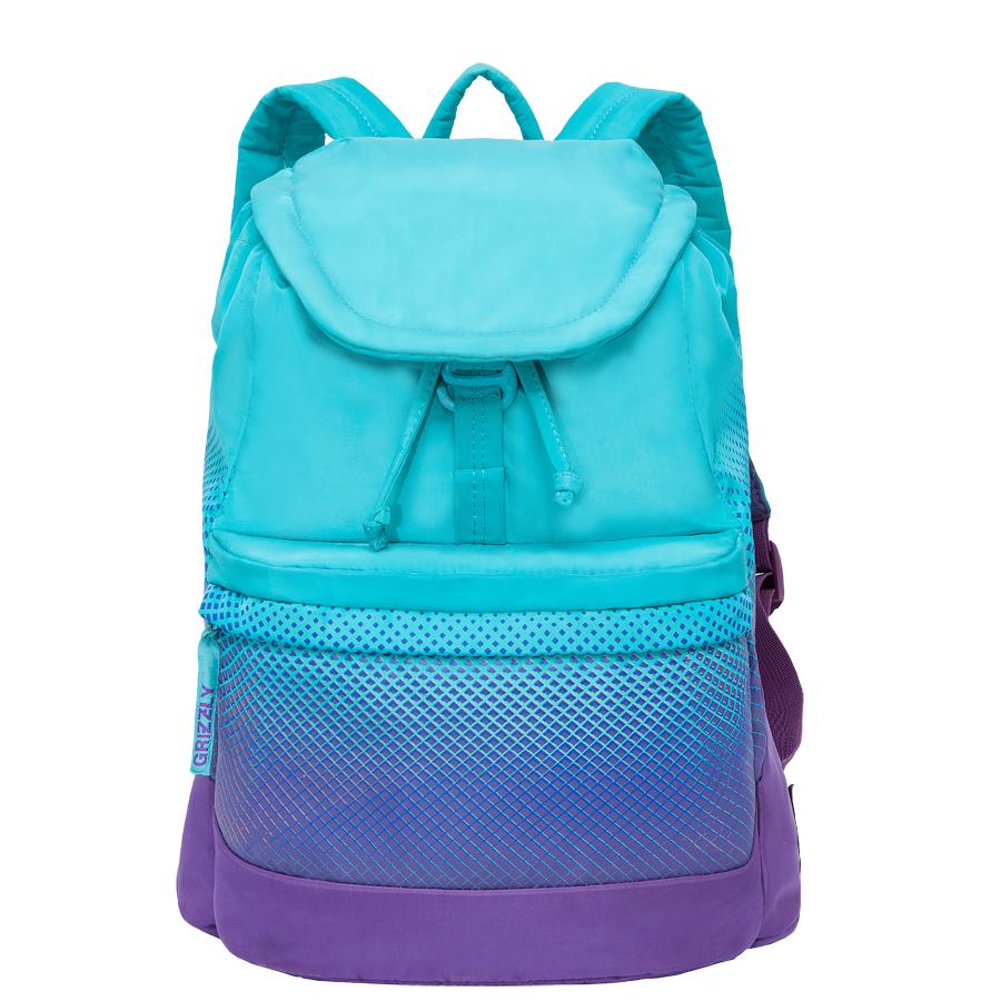 Рюкзак городской женский Grizzly, цвет: бирюзовый, фиолетовый, 22 л. RD-748-1/3MHDR2G/AРюкзак городской Grizzl выполнен из высококачественного полиэстера, который не пропускает воду. Изделие оформлено оригинальным принтом. На лицевой стороне расположен объемный накладной карман на молнии. На тыльной стороне расположен вшитый карман на молнии. Рюкзак оснащен петлей для подвешивания и двумя удобными лямками, длина которых регулируется с помощью пряжек. Изделие закрывается клапаном на металлический крючок. Внутри расположено главное отделение, закрывающееся с помощью затягивающегося шнурка. Главное отделение содержит один открытый накладной карман и карман на молнии для мелочей.