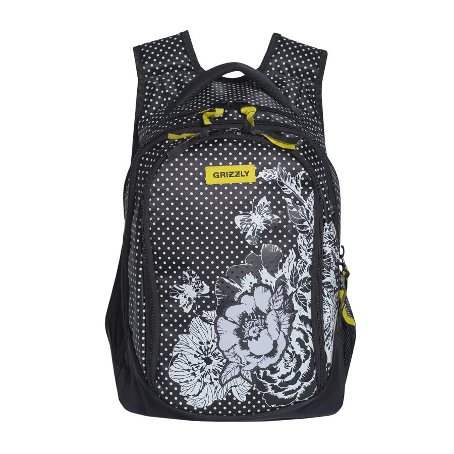 Рюкзак городской женский Grizzly, цвет: черный, желтый, 22 л. RD-742-1/4 рюкзак городской grizzly цвет черный желтый 22 л ru 603 1 2