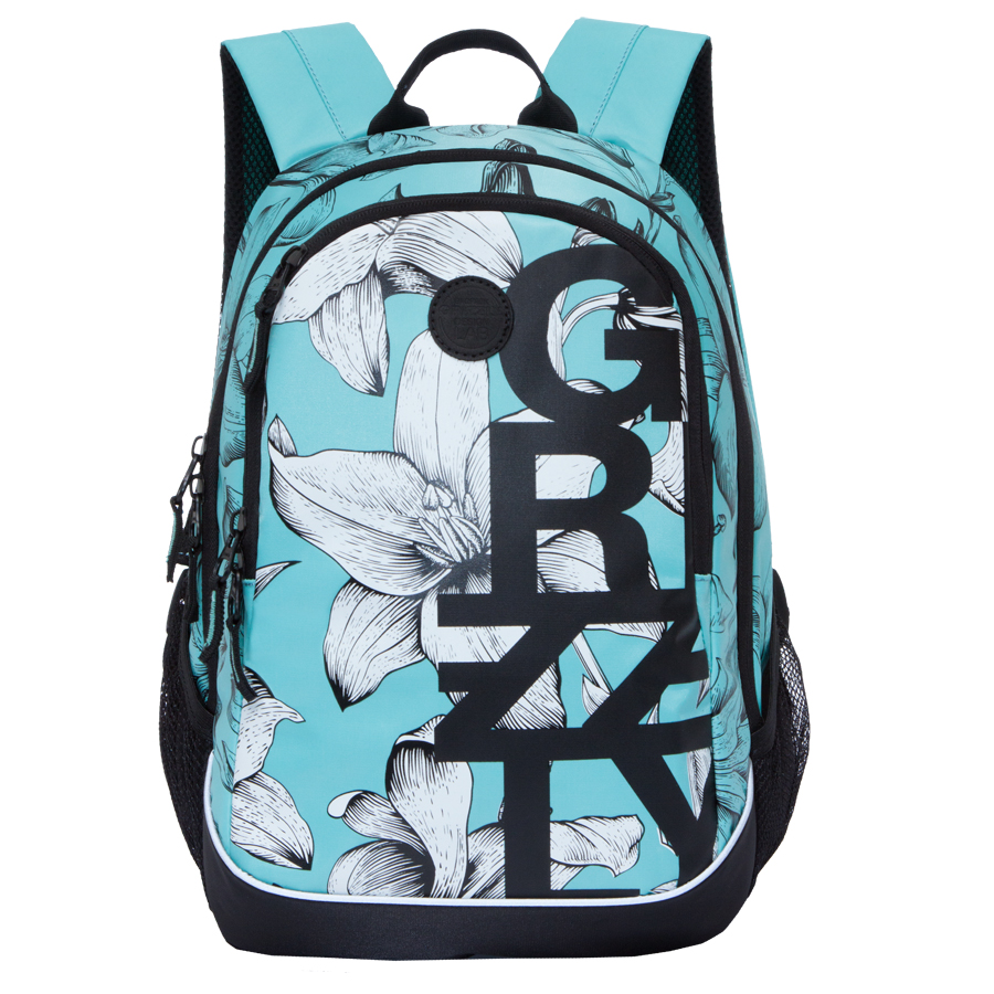 Рюкзак городской женский Grizzly, цвет: светло-голубой, черный, белый, 22 л. RD-740-1/1BP-001 BKРюкзак городской Grizzl выполнен из высококачественного нейлона, который не пропускает воду. Изделие оформлено оригинальным принтом. На лицевой стороне расположен вместительный карман на молнии, который содержит карман с сеткой на молнии и три открытых накладных кармана для телефона, мелочей и канцелярских товаров. Также на лицевой стороне находится вшитый карман на молнии. Рюкзак оснащен двумя боковыми карманами для переноски бутылок с водой. Изделие закрывается на застежку-молнию. Внутри расположено главное вместительное отделение, которое содержит карман на молнии.