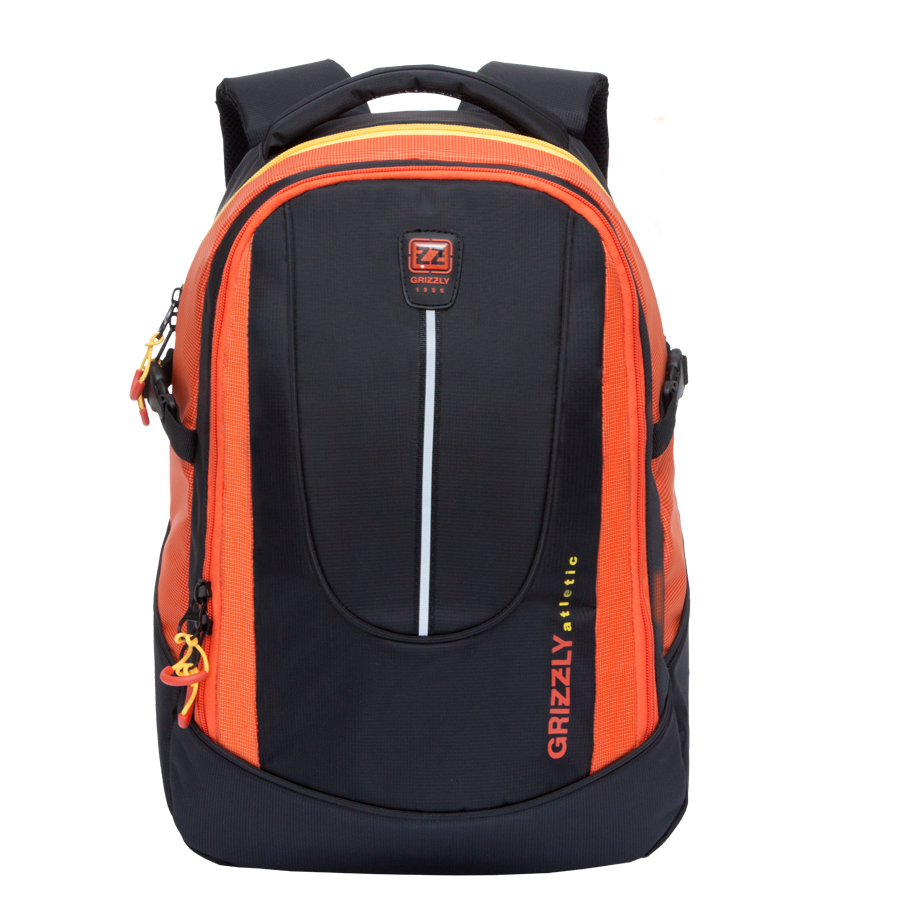 Рюкзак молодежный мужской Grizzly, цвет: черный, оранжевый, 26 л. RU-708-1/28-2Рюкзак молодежный с двумя отделениями, внутренними карманами для мелочей в переднем отделении и карманом для гаджета и документов в основном отделении, с ручкой для переноски, рельефной спинкой и укрепленными лямками