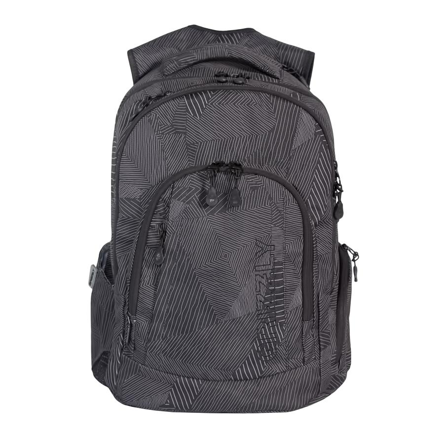 Рюкзак городской мужской Grizzly, цвет: черный, серый, 24 л. RU-701-1/4Z90 blackРюкзак городской Grizzl выполнен из высококачественного плотного полиэстера и оформлен камуфляжным принтом. На лицевой стороне расположен карман на молнии, который содержит вшитый карман на молнии, два открытых накладных кармана для мелочей и четыре кармана для канцелярских принадлежностей. Также на лицевой стороне находится вместительный карман на молнии и вертикальный карман на молнии для мелочей. На тыльной стороне расположен вшитый вертикальный карман на молнии. Рюкзак оснащен двумя боковыми карманами для переноски бутылок с водой. Рюкзак имеет петлю для подвешивания и две удобные лямки, длина которых регулируется с помощью пряжек. Изделие закрывается на застежку-молнию. Внутри расположено главное вместительное отделение, которое содержит открытый мягкий карман для планшета.