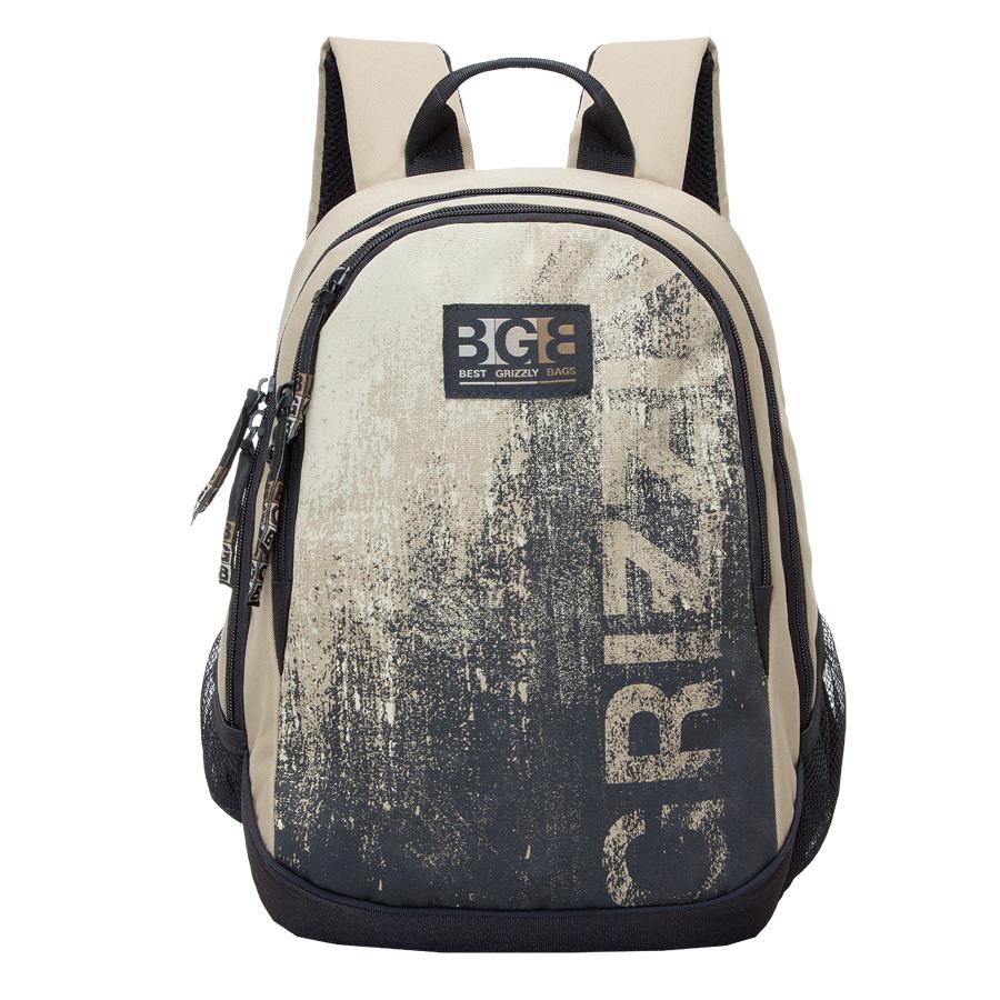 Рюкзак городской Grizzly, цвет: черный, бежевый, 22 л. RU-603-1/3Z90 blackРюкзак городской Grizzl выполнен из высококачественного полиэстера и оформлен стильным принтом. Рюкзак имеет ручку-петлю для подвешивания и две укрепленные лямки, длина которых регулируется с помощью пряжек. Модель имеет два основных отделения,которые дополненыкарманом-пеналом для карандашей и подвесным карманом на застежке-молнии.Передняя сторона оснащена втачным карманом на молнии. Боковые стенки дополнены объемными карманами из сетки. Тыльная сторона рюкзака имеет жесткую анатомическую спинку.