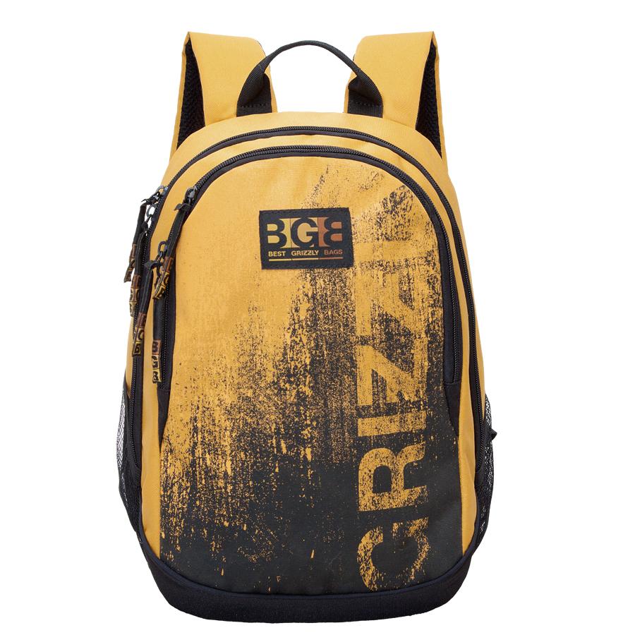 Рюкзак городской Grizzly, цвет: черный, желтый, 22 л. RU-603-1/2Z90 blackРюкзак городской Grizzl выполнен из высококачественного полиэстера и оформлен стильным принтом. Рюкзак имеет ручку-петлю для подвешивания и две укрепленные лямки, длина которых регулируется с помощью пряжек. Модель имеет два основных отделения,которые дополненыкарманом-пеналом для карандашей и подвесным карманом на застежке-молнии.Передняя сторона оснащена втачным карманом на молнии. Боковые стенки дополнены объемными карманами из сетки. Тыльная сторона рюкзака имеет жесткую анатомическую спинку.