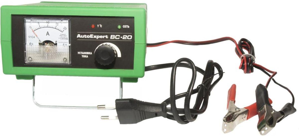 AutoExpert BC-20, Green зарядное устройство для автомобильных АКБ11206Компактное зарядное устройство AutoExpert BC-20 для обслуживания и зарядки всех типов 12 вольтовых свинцовых аккумуляторных батарей, используемых в автомобилях и мототехнике.Функциональные особенности:Полностью автоматическая работа. Микропроцессорное управление. Стрелочный индикатор. Ручная установка тока зарядки.Совместимость со всеми типами свинцово-кислотных АКБ, включая необслуживаемыеЗащита от перегрева, перегрузки, неверного подключения, короткого замыканияМаксимальный ток заряда: 15А Емкость заряжаемой батареи: 1,2-120Ah Режим зарядки: полностью автоматическийОтсек для хранения проводовУдобная подставкаВозможность использования в качестве блока питания с вых.напряжением 15ВТемпература использования: -10С…+45С