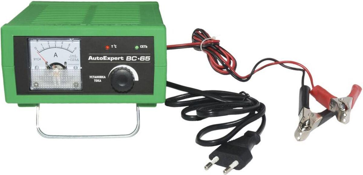 AutoExpert BC-65, Green зарядное устройство для автомобильных АКБJDCC1RGКомпактное зарядное устройство AutoExpert BC-65 для обслуживания и зарядки всех типов 12 вольтовых свинцовых аккумуляторных батарей, используемых в автомобилях и мототехнике.Функциональные особенности:Полностью автоматическая работа. Микропроцессорное управление. Стрелочный индикатор. Ручная установка тока зарядки.Совместимость со всеми типами свинцово-кислотных АКБ, включая необслуживаемыеЗащита от перегрева, перегрузки, неверного подключения, короткого замыканияМаксимальный ток заряда: 6А Емкость заряжаемой батареи: 1,2-120Ah Режим зарядки: полностью автоматическийОтсек для хранения проводовУдобная подставкаВозможность использования в качестве блока питания с вых.напряжением 15ВТемпература использования: -10С…+45С