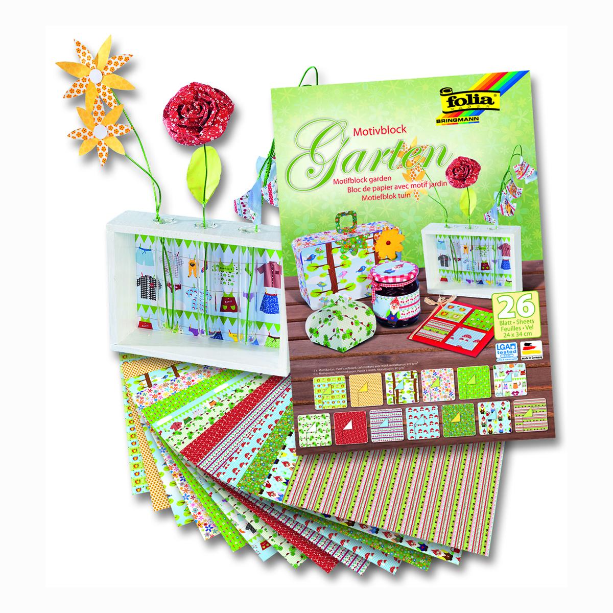 Набор дизайнерского картона Folia  Сад , 24 х 34 см, 26 листов -  Бумага цветная, картон