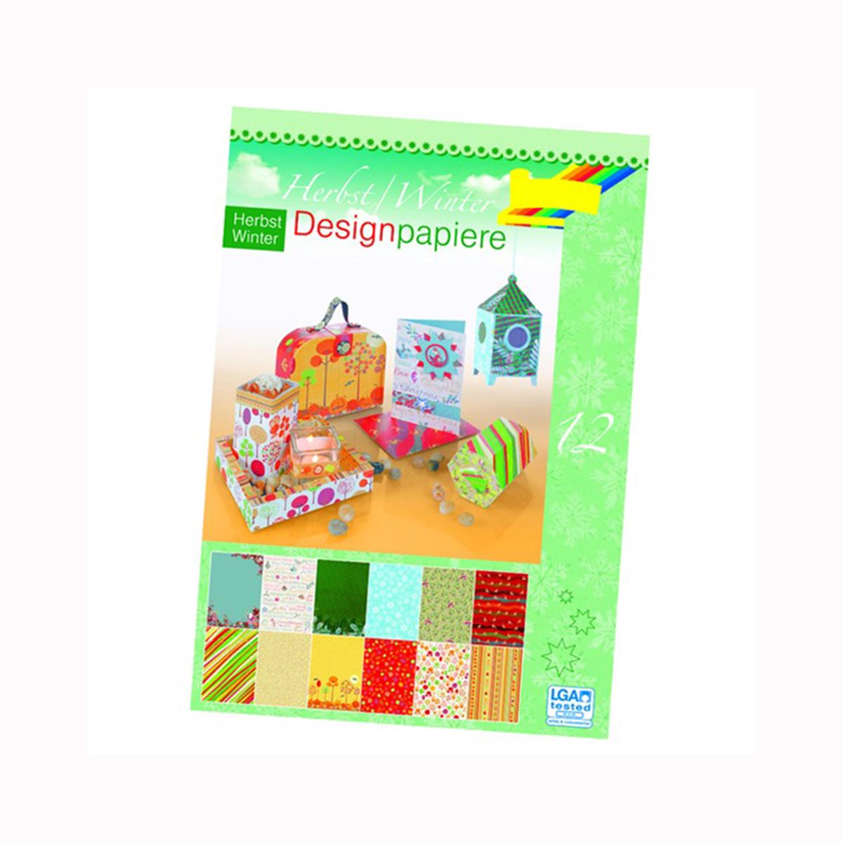 Набор дизайнерского картона Folia  Осень и зима , 24 х 34 см, 12 листов -  Бумага и бумажная продукция