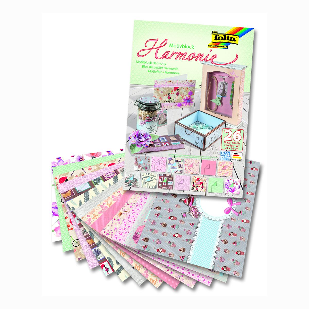Набор дизайнерского картона Folia  Гармония , 24 х 34 см, 26 листов -  Бумага и бумажная продукция