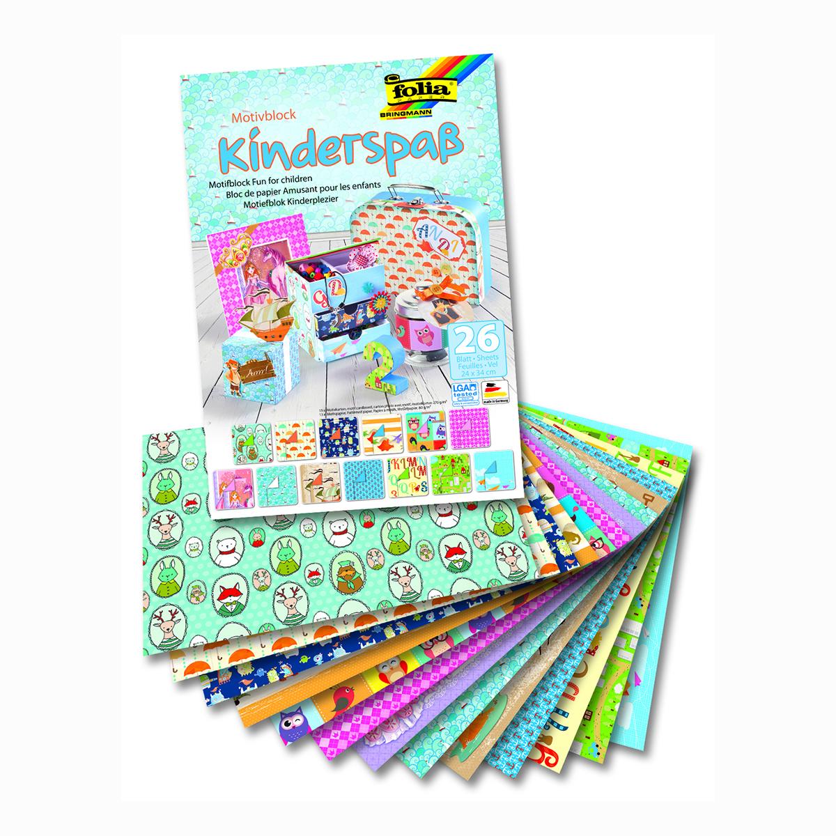 Набор дизайнерского картона Folia  Веселье для детей , 24 х 34 см, 26 листов -  Бумага и бумажная продукция