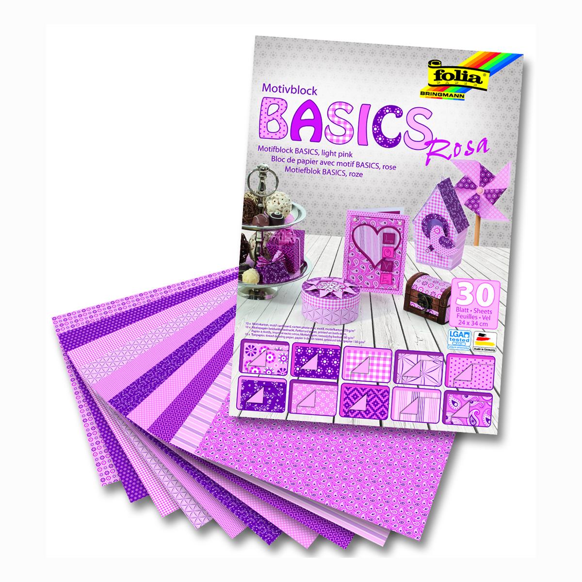 Набор дизайнерского картона Folia  Базовый , цвет: розовый, 24 х 34 см, 30 листов -  Бумага и бумажная продукция
