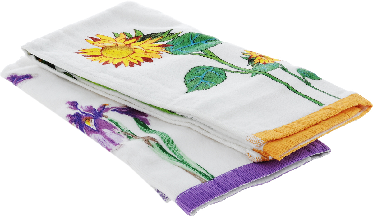 "Набор кухонных полотенец Bonita ""Цветы. Подсолнух. Ирис"", 40 х 60 см, 2 шт"