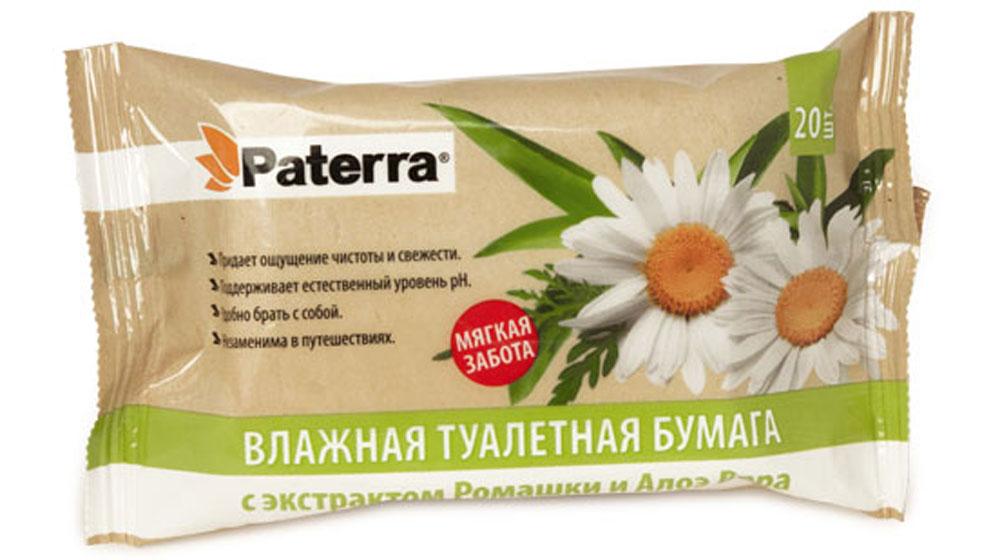 Бумага туалетная Paterra, влажная, с экстрактом ромашки и алое вера, 20 шт6785Влажная туалетная бумага Paterra незаменима в путешествиях. Поддерживает естественный уровень PH. Содержит экстракт ромашки и алоэ вера.